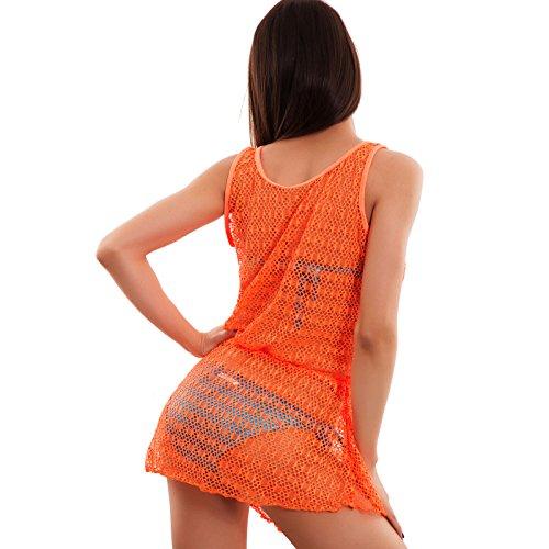 Toocool - Copricostume donna moda miniabito rete traforato trasparente fluo nuovo DS3008 Arancio fluo