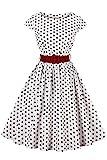 Axoe Damen 50er Jahre Audrey Hepburn Vintage Kleid Rockabilly Cocktail Partykleid Polka Dot- Gr. 4XL (48), Weiß
