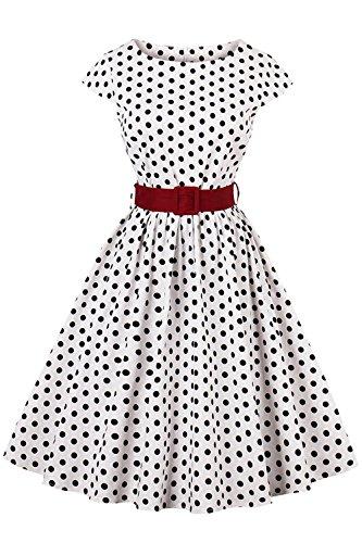 Axoe Damen 50er Jahre Audrey Hepburn Vintage Kleid Rockabilly Cocktail Partykleid Polka Dot- Gr. 2XL (44), Weiß -