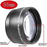 Neewer® 55mm 2x Professionnel HD Téléobjectif pour Canon Nikon Sony Olympus et d'Autres Appareils Photo Reflex & Caméscopes avec 55mm Filetage