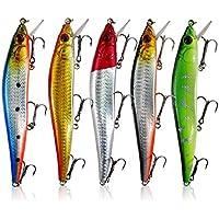 Fashion 5pcs/lot pesca señuelos cebo Minnow Bass señuelo ganchos 13cm plástico 23G flotante Tackle no tóxico