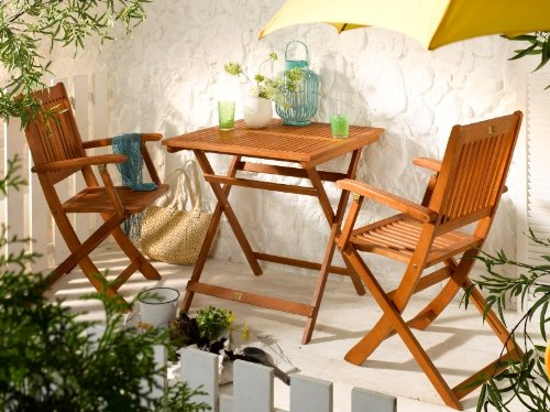 Balkonsitzgruppe Klappsitzgruppe Gartengruppe Gartenmöbel 3-tlg. Eukalyptusholz