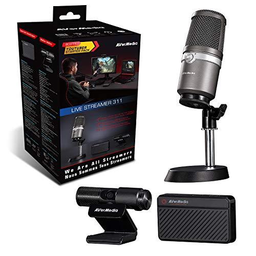 AVerMedia Live Streamer 311 61BO311000AE, Pack Todo en Uno, Capturadora de Vídeo, Micrófono, Cámara web, Plug and play, Transmisión, Juego