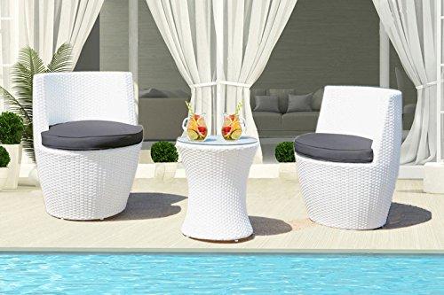 Au jardin de Chloé-Duo Salon de Jardin en résine tressée Blanc-2 fauteuils+1 Table - Set Balcon ou Petit terasse