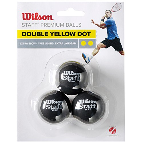 Wilson – Staff Squash 3 Ball Double Dot, Couleur Lot de 3 balles