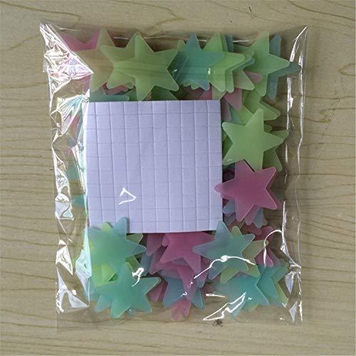 Wandaufkleber/Wandaufkleber, 3D-Sterne, leuchtet im Dunkeln, fluoreszierend, Kunststoff, 100 Stück, mehrfarbig