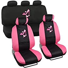 Lady High Heel Shoe Seat Covers for Car w/ Triple Pink Hearts Auto Accessories Interior Car Truck SUV Combo Kit Gift Set - 9PC by BDK