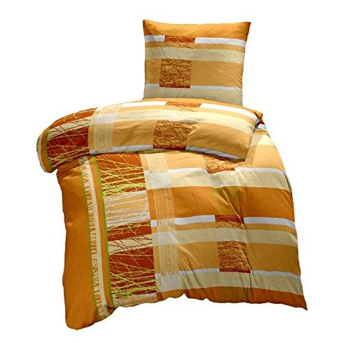 Hans-Textil-Shop Seersucker Bettwäsche Samu, Baumwolle, Streifen, Sträucher, bügelfrei (Terra, 135x200 cm)