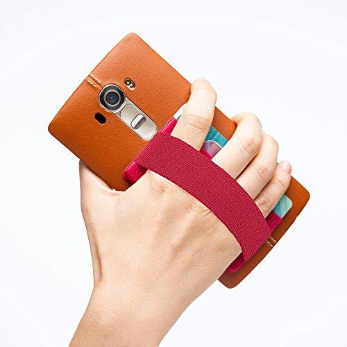 Sinjimoru Smart Wallet mit Handy Fingerhalterung, Slim Wallet/Kartenetui/Kartenhalter/aufklebbare Mini Geldbörse mit Handschlaufe für die Einhandbedienung. Sinji Pouch Band, Rot. Band Mini-handy