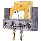 Comfify Porte-courrier Mural en Bois - Porte-clés Rustique pour Mur - Porte-revues avec 4 Crochets Doubles - Décor Mural Blanc Rustique pour entrée de Magasin
