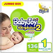 BabyJoy Compressed Diamond Pad, Size 1, Newborn, 0-4 kg, Jumbo Box, 136 Diapers