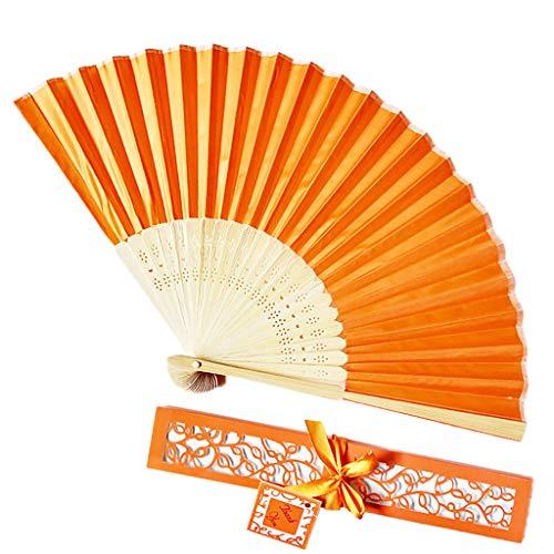 Kviklo Handfächer Faltseide Fächer Handfächerhold Durchbrochener Bambus Massiver Orientalischer Tanz Hochzeit Kostümdekoration Geschenkbox(Orange,21cm)