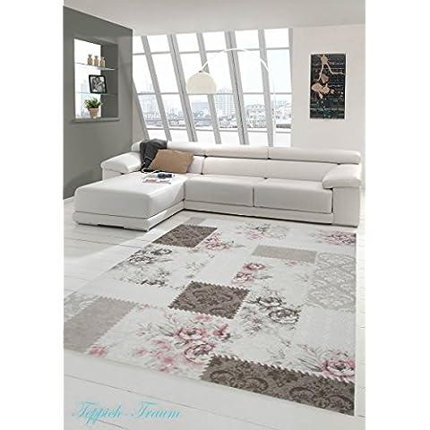 Tappeto moderno floreale Panna Beige Marrone Rosa (Traumteppich) Größe 120x170 cm