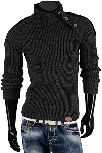 TAZZIO pull-over en tricot pour homme taille s à xXL Anthracite
