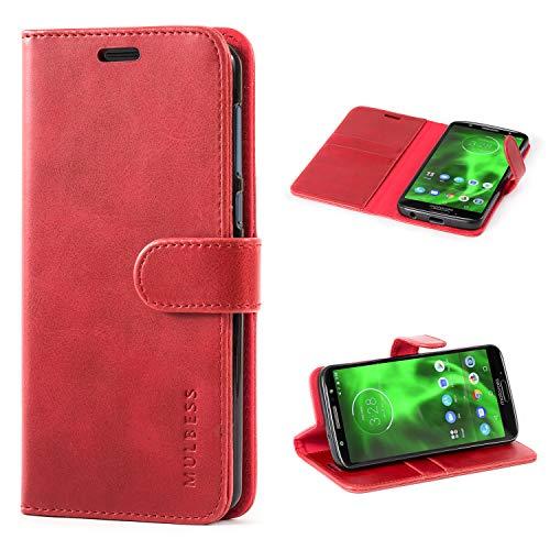 Mulbess Handyhülle für Moto G6 Hülle, Leder Flip Case Schutzhülle für Motorola Moto G6 Tasche, Wein Rot