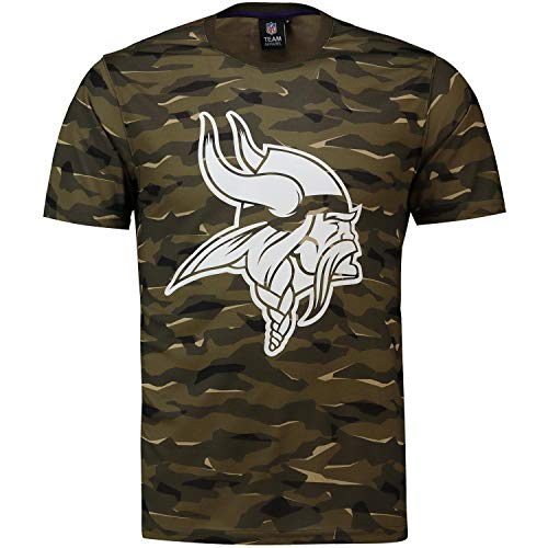 Majestic Athletic NFL Football T-Shirt Minnesota Vikings Logo Tee T Camo Camouflage (XL) Logo Camouflage