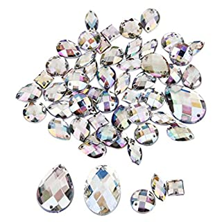 Rhinestone Flat Back Buttons Sew on Embellishments for Craft Pack of Approx.50pcs Assorted Shape