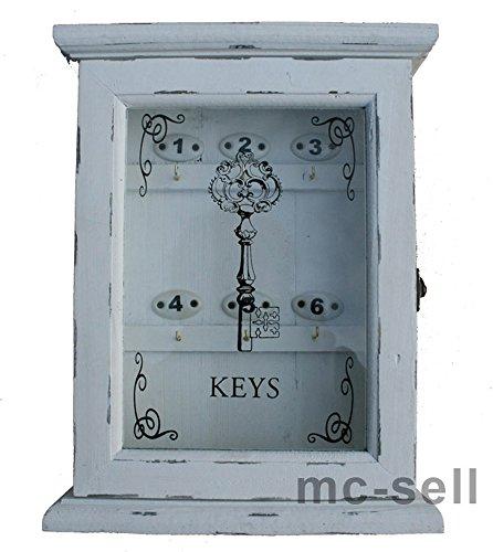 Dekorativer Schlüsselkasten in Weiss aus Holz - Shabby Chic - mit Glastür - 24,5x32cm Wand Dekorative Schlüsselkasten