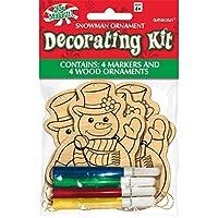 Party Showroom - Kit decorazioni in legno per albero di Natale, da colorare, con pennarelli