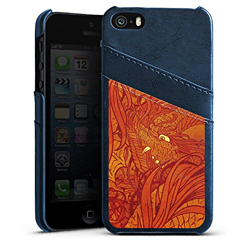 Apple iPhone 4 Housse Étui Silicone Coque Protection Motif Motif Orange Étui en cuir bleu marine