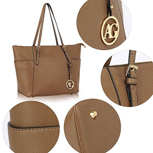 Frau Handtaschen Damen Groß Für Leinentrage Tasche Konstrukteur Imitat Leder Berühmtheit Stil Neu (C - Bräunen) B - Taupe