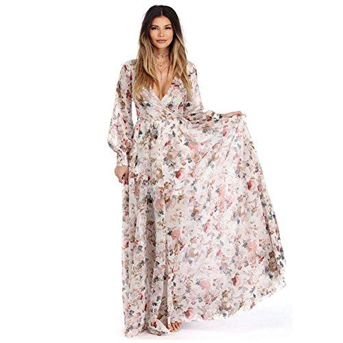 FORH Mode Frauen Neue Herbst V-Ausschnitt voll Ärmel Chiffon Blumen- lang Maxi Abend Party Kleid (S, Beige) Frauen-sommer-kleider Mit ärmel