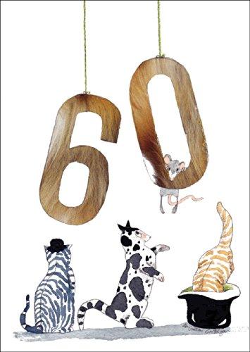 Lustige Kartzen Geburtstagskarte zum 60. Geburtstag • auch zum direkt Versenden mit ihrem persönlichen Text als Einleger.