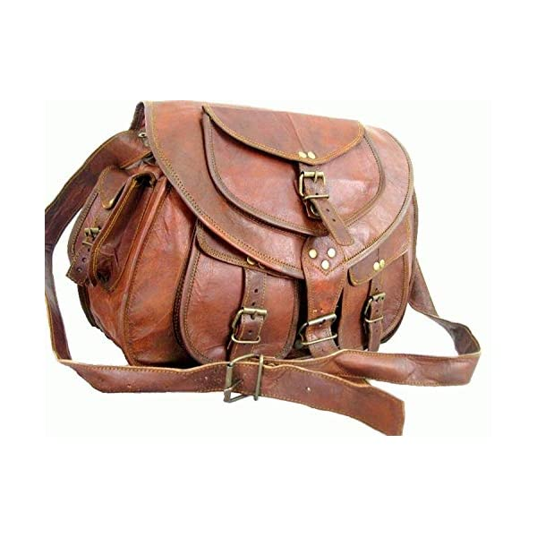 33 cm Handmade Leather Satchel Saddle Bag Retro Rustic Vintage Women Bag Crossbody Handbag 51CdDAGx  2BL