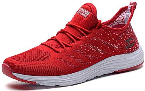 JOOMRA Damen Herren Atmungsaktiv Turnschuhe Freizeit-Schuhe Sportschuhe Fitnessschuhe Laufschuhe Frauen Mädchen Sommer Running Leichte Sneaker Männer Jungen Jungs Rot Weiß 40 (Rot Mädchen Sneakers)