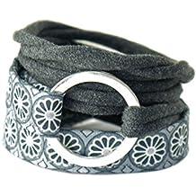 Wickelarmband in grau und anthrazit mit silberfarbenem Ring