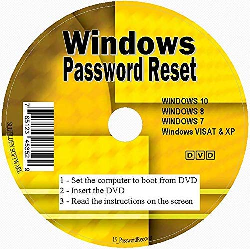 Windows Password Reset Disk Recovery Premium DVD/USB Drive for Removing  Your Forgotten Windows Password on Windows 10, Windows 7, Vista, XP -
