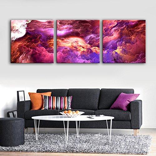 sgedehnte Segeltuch-Kunst-purpurrote Wolken-Wunder-Dekoration-Malerei eingestellt, 40*40cm*3pc (Wunder Bilderrahmen)