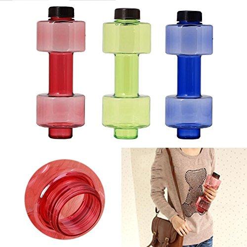 KBF Beautiful Dumbbell Shape Water Bottle, PETG Eco-friendly Sports Fitness Exercise Water...