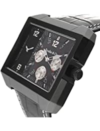 Boudier & Cie Herren Leon Kingsize Collection Quarz Armbanduhr mit zwei Zeitzonen - Analoge Anzeige - Lederarmband Gehäuse aus Edelstahl Größe XL - OZG1102