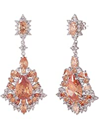 SHAZE Rhodium-Plated Orange Glitz |Earrings for women stylish|Earrings for girls
