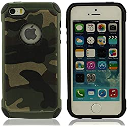 iPhone 5 & 5S Funda Carcasa Color de Camuflaje, Duro Plastico Doble capa Diseño para iPhone 5S / 5