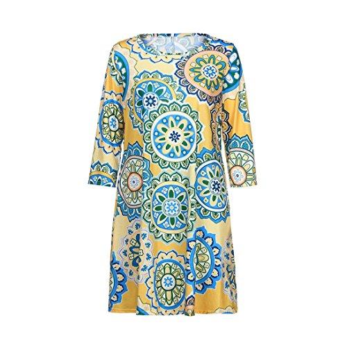 4d9d02dbdb1 Honestyi Damen vintage spitze Boho Maxi Abend Party Strand Blumen Kleid  Elegant Printkleider Strandkleider Partykleider Casualkleider