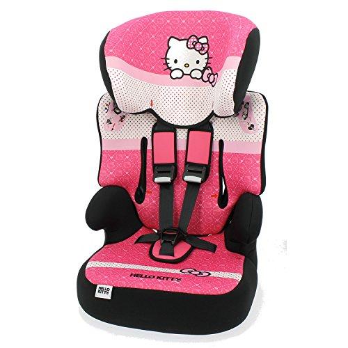 Mycarsit Siège Auto et Rehausseur Hello Kitty, Groupe 1/2/3 (de 9 à36 kg)
