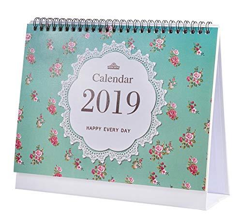 Calendario Calendario Da Tavolo 2019, Gennaio - Dicembre, Mensile, Agenda Giornaliera Calendario Da Tavolo Anno Accademico Per Scuola, Ufficio, Casa, Filo Doppio, 9,4 X 7,6 Inch (Flower)