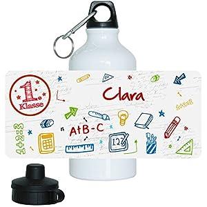 Trinkflasche mit Namen Clara und 1. Klasse-Motiv für Mädchen, aus Aluminium
