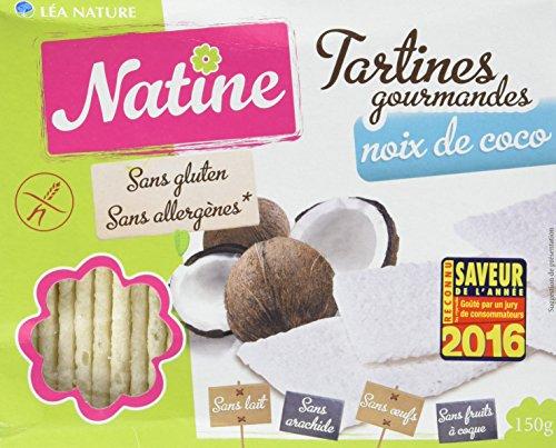 Natine Tartines Coco sans Allergènes 150 g - Lot de 3