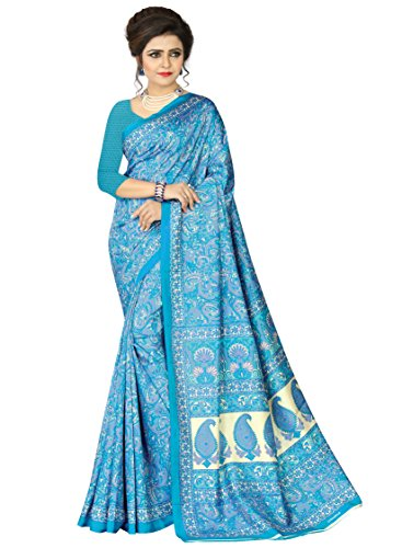 e-VASTRAM Womens Crepe Printed Art Silk Saree(V3115_Blue)