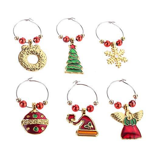 KOBWA Set von 6 Weinglas Charms Weihnachten Weinglas Marker 3 von Weihnachten Thema Alloy Marker Ringe Tischglas Becher Drink Marker für Party Favors Dekoration und Zubehör (Dekorationen Schnee, Thema,)