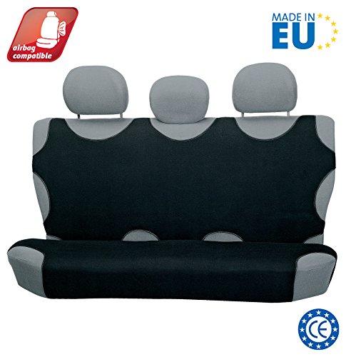 4CARS T-Shirt Coprisedile, 2 pezzi per sedili posteriori, Airbag compatibile, universale, Nero