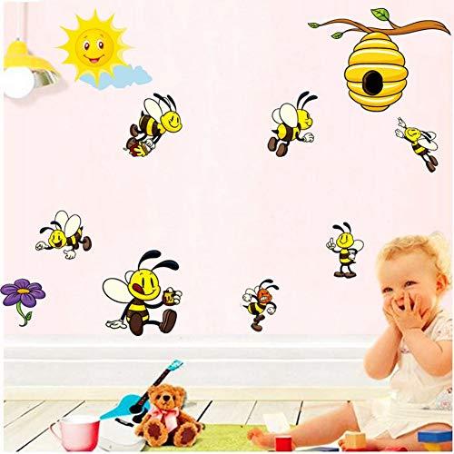 Niedlichen Cartoon Biene 3D Wandaufkleber für Kinderzimmer Dekoration Schöne Honey Bee Viny Wandkunst Aufkleber Wandbilder Diy Kindergarten Wohnkultur Am012 (Bee Dekorationen Honey)