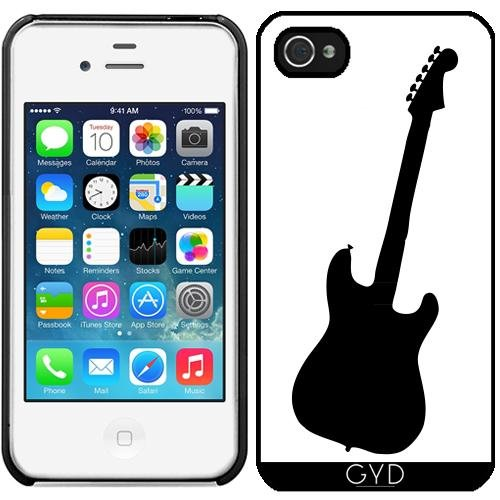 Leder Flip Case Tasche Hülle für Apple iPhone 6/6S - Gitarre Silhouette by loki1982 Starre Kunststoff