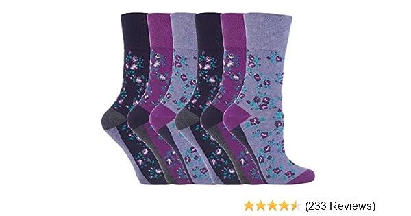 6 Pairs Womens Sockshop Cotton Gentle grip socks 4-8 uk,37-42 eu Floral GG33