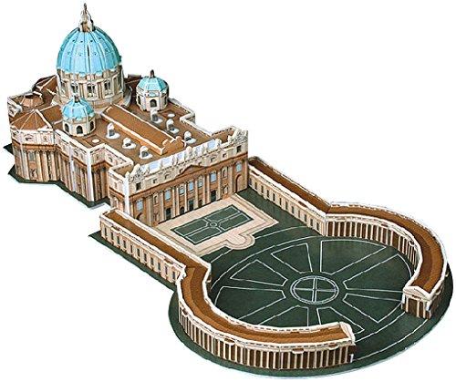 Playtastic Kinder 3D Puzzle Spiele: Faszinierendes 3D-Puzzle Petersdom mit Petersplatz in Rom, 56 Teile (3d-modelle)