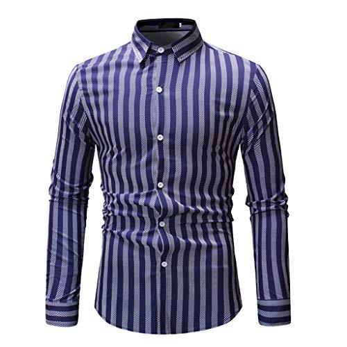 Amphia - Langärmliges HerrenhemdMens Spring Fashion Printed Casual Langarm Slim Shirts Tops ()
