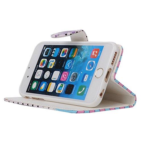 MOONCASE Étui pour Apple iPhone 6 / 6S (4.7 inch) Printing Series Coque en Cuir Portefeuille Housse de Protection à rabat Case Cover ZD13 ZD09 #1230
